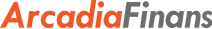 Arcadia Finans Norge sin logo. Arcadia er skrevet med orange bokstaver og finans med grå bokstaver. Bakgrunnen er hvit.
