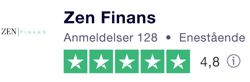 Bildet er tatt fra Trustpilot og viser lånemegleren Zen Finans sin logo. Videre står det Zen Finans med uthevet skrift, antall anmeldelser på 128, de har fått kategorien 4,8 ut av 5 og har fem grønne stjerner. Det står også verdiscoren på 4,8 ut av 5. Bakgrunnen er hvit. nmerking - Låneoversikten