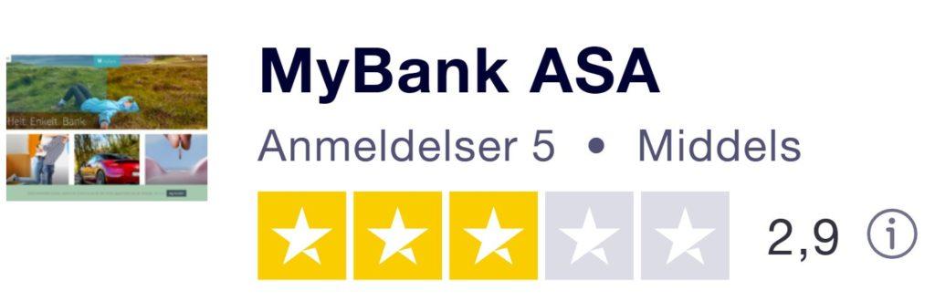 Bildet er tatt fra Trustpilot og viser banken MyBank ASA sitt produktbilde. Videre står det MyBank ASA med uthevet skrift, antall anmeldelser på 5, de har fått kategorien 2,9 ut av 5 og har tre grønne stjerner. Det står også verdiscoren på 2,9 ut av 5. Bakgrunnen er hvit.