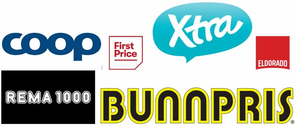 Bildet viser logoene til butikkene og billig middag merkene til COOP, First Price, Xtra, Eldorado, Rema 1000, og Bunnpris på nettstedet til Låneoversikten
