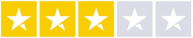 Bildet viser fem stjerner hvorav tre er farget i gult og to er tomme og representerer skår på 2,9 av totalt maks 5 basert på andre folks erfaringer med mybank på Trustpilot på Låneoversikten sin nettside