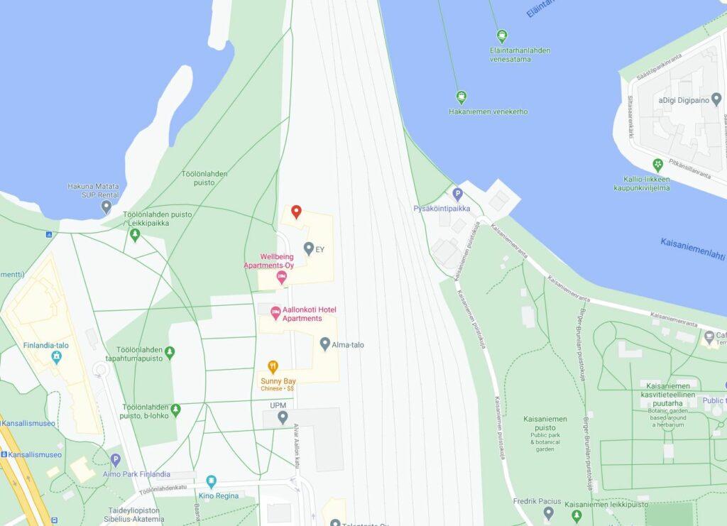 Bildet viser adressen til Arcadia Finans på Google Maps i Finland presentert på nettsiden til Låneoversikten