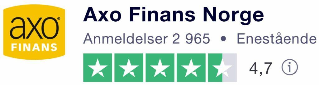 Bildet viser folks enestående erfaringer med AxoFinans Norge på TrustPilot basert på 2 965 anmeldelser som har gitt TrustScore 4,7 på hjemmesiden til Låneoversikten
