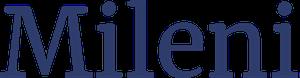 Bildet viser logoen til Mileni hvor det står Mileni i mørkeblå bokstaver