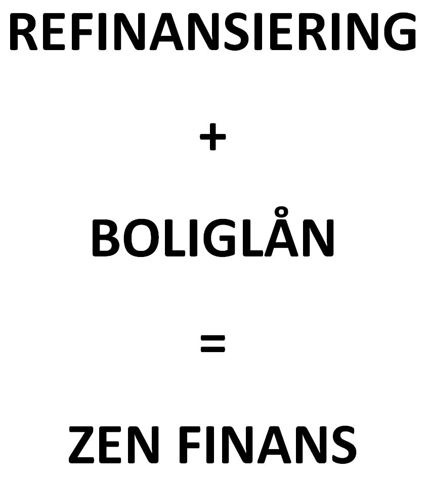 Bildet viser en hvit bakgrunn der det med store, fremhevede sorte bokstaver står Refinansiering pluss boliglån er lik Zen Finans på nettsiden til Låneoversikten