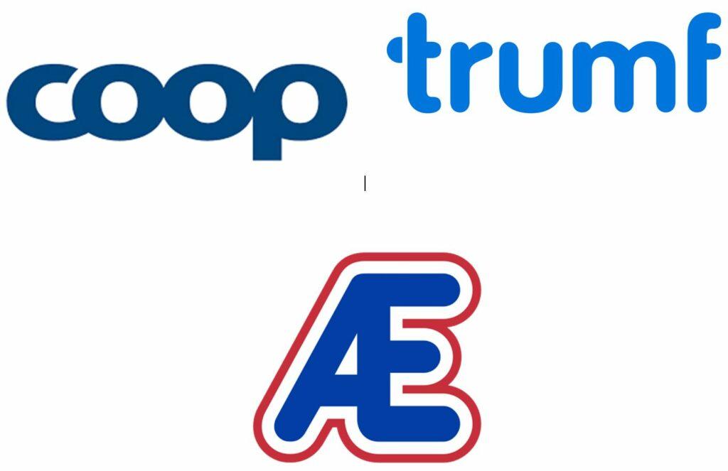 Bildet viser logoene til COOP, Trumf og Æ relatert til kapitlet om å spare penger når du bruker kortet