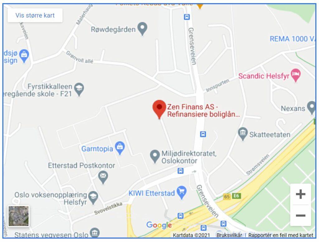 Bildet er tatt fra Google Maps og viser kart over hvor du kan finne Zen FInans AS i Oslo - Låneoversikten