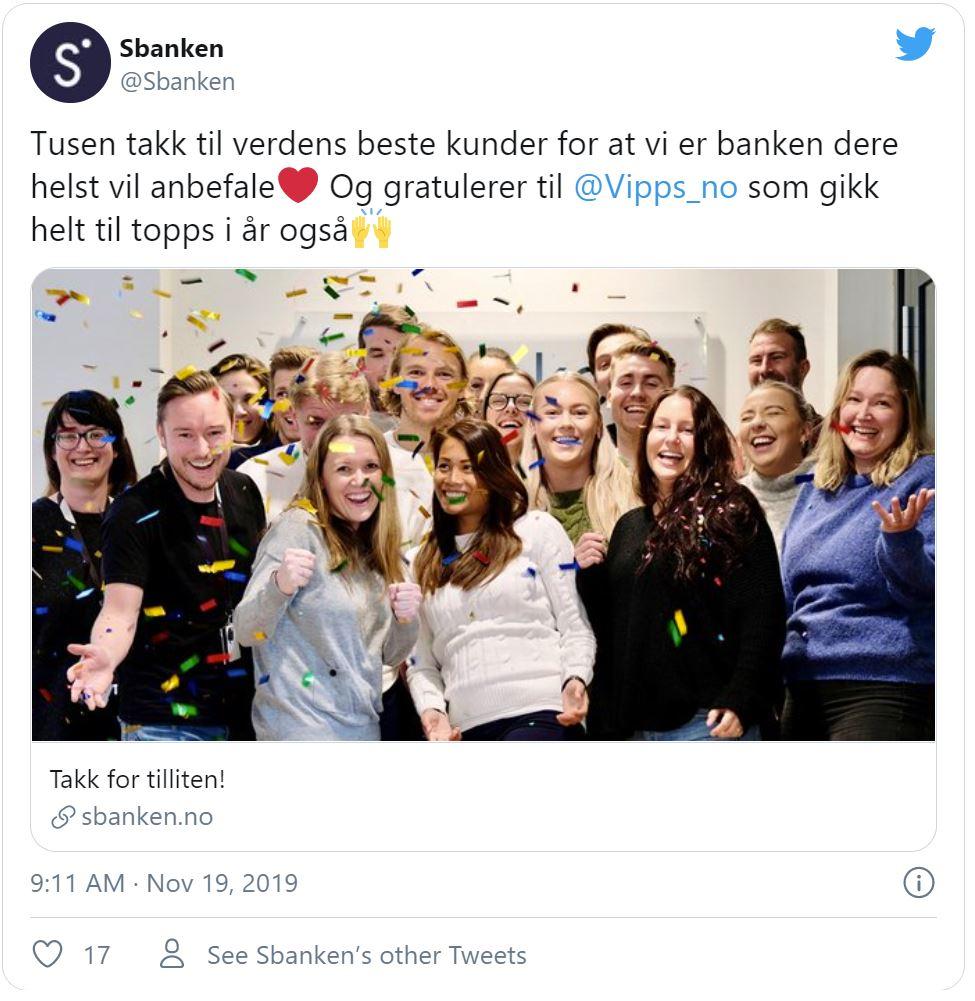 Bildet er tatt fra Twitter og viser en glad gjeng fra Sbanken - Låneoversikten