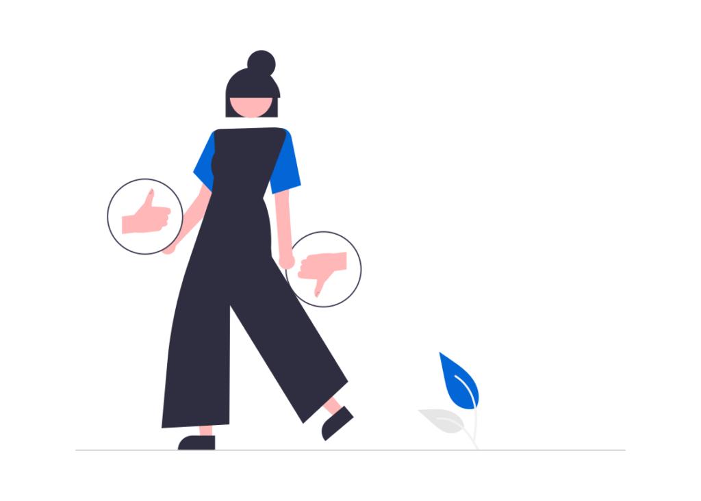 Forbrukslån sammenligning illustrasjon vist med en kvinne som gir tommelen opp eller ned ved ulike valg