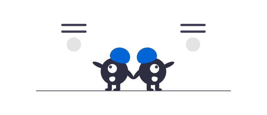 Sammenligne lån fra flere banker illustrasjon vist med to tegnefigurer som ser oppover på to tilbud mens de diskuterer.