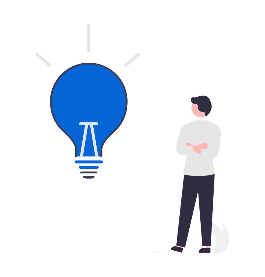 Tips for sammenligning av forbrukslån illustrert med en mann som får en aha opplevelse vist med en stor blå lyspære.